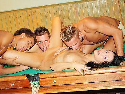 Brunette fucked hard on the pool table